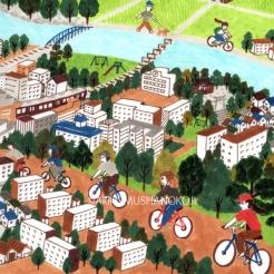 いばきたに向かって、サイクリングする人たち。